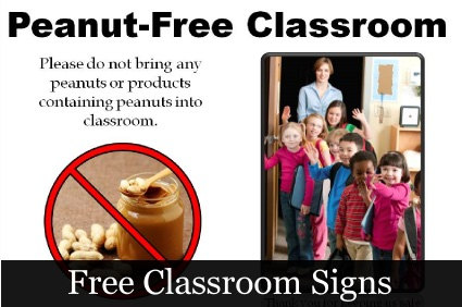 Peanut  Free signs for Classroom
